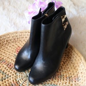 Sam Edelman Black Leather Gold Clasp Ankle Boots